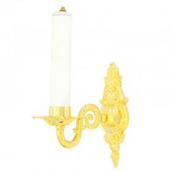 Applique barocca 1 braccio in ottone dorato 22 cm
