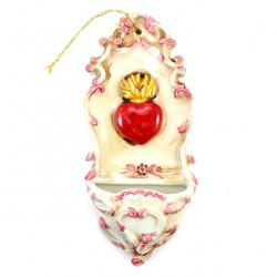 Ceramic Heart  Holy Water Font 20 cm