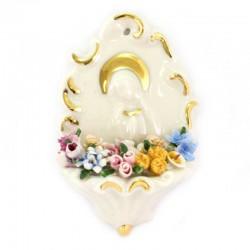 Acquasantiera in ceramica con Madonna 13 cm