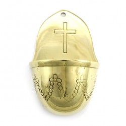 Metal Holy Water Font with Cross 13 cm