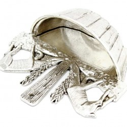 Silvery Brass Holy Water Font Deers 13x12 cm