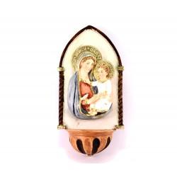 Acquasantiera Madonna con Bambino resina 21 cm