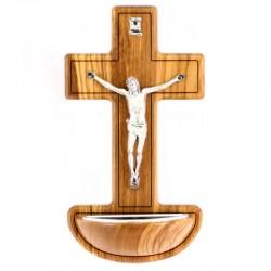 Acquasantiera Crocifisso legno ulivo 17 cm
