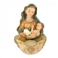 Acquasantiera Madonna con Bambino resina colorata 16 cm