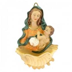Acquasantiera Madonna con Bambino resina colorata 10 cm