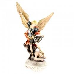 Acquasantiera San Michele Arcangelo resina colorata 23 cm