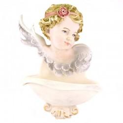 Acquasantiera testa d'angelo resina colorata 15x20 cm