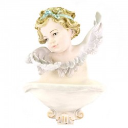 Angel Head Colored Resin Holy Water Font 15x20 cm