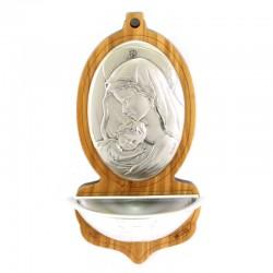 Acquasantiera Madonna con Bambino argento 6,5x13 cm