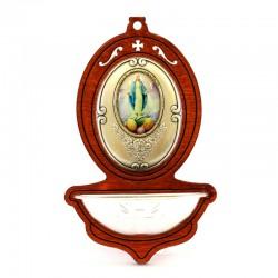 Acquasantiera Madonna Miracolosa in legno 13x8 cm