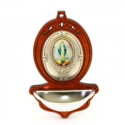 Wooden Holy Water Font Our Lady of Miracles 13x8 cm