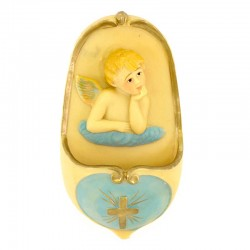 Holy Water stoup light blue Angel in resin 13,5 cm