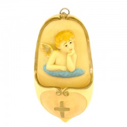 Holy Water stoup pink Angel in resin 13,5 cm