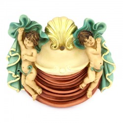 Holy Water stoup Angels in colored resin 17x15 cm