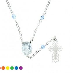 Single Decade Rosary Necklace Glass grain 4 mm