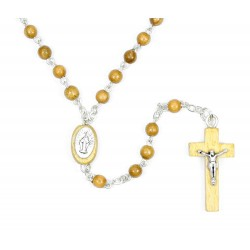 Rosario Madonna in ulivo da collo Grano 4 mm