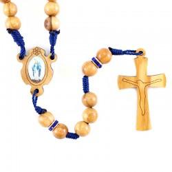 Rosario in legno ulivo Madonna Miracolosa 7 mm