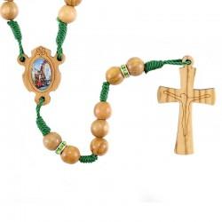 Rosario in legno ulivo Madonna di Lourdes 7 mm