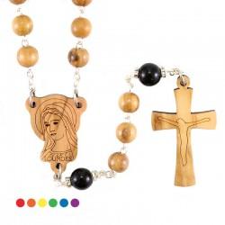 Rosario Madonna di Lourdes legno ulivo 7 mm
