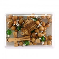 Our Lady of Lourdes Olive Wood Rosary 7 mm