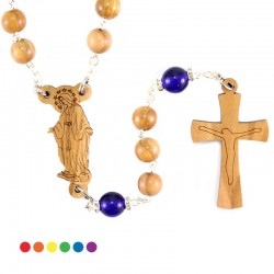 Rosario Madonna Miracolosa legno ulivo 7 mm