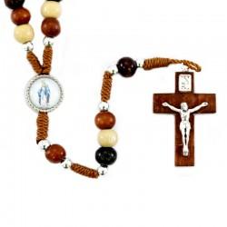 Rosario legno varie tonalità Madonna Miracolosa 6 mm