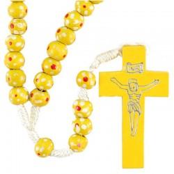 Rosario legno e Corda con fiori giallo Grano 7 mm