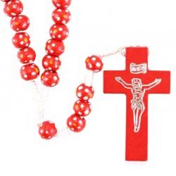 Rosario legno e Corda con fiori rosso Grano 7 mm
