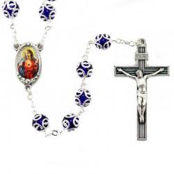 Rosario vetro accoppigliato Sacro Cuore di Gesù Grano 8 mm