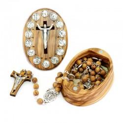 Rosario Via Crucis con scatola ovale in olivo Grano 7 mm