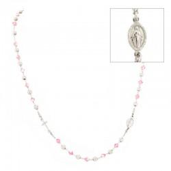 Rosario girocollo argento rodiato swarovski rosa