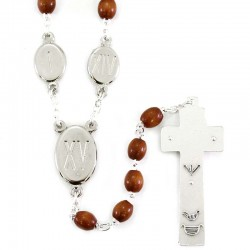 Rosary Via Crucis wood pater bead enamels Bead 8x6 mm