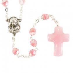 Pink glass rosary with murrina cross Grain 6 mm