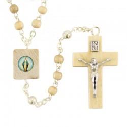 Rosario Madonna Miracolosa in legno avorio Grano 4 mm
