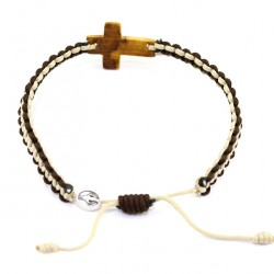 Twine Bracelet with Cross and Miracle Medal