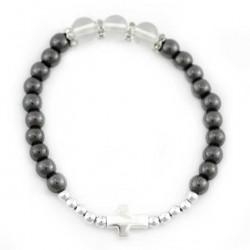 Elastic Bracelet Gray Grain 6 mm