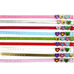 3 Enamelled Metal Hearts Leatherette Bracelet 22 cm