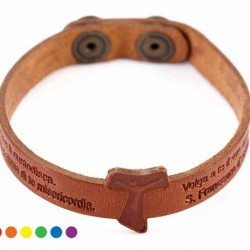 Tau Leather Bracelet with prayer with Button