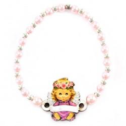 Elastic Bracelet Pink Angel Grain 3 mm