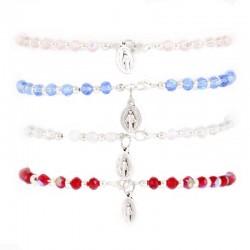 Elastic Rosary Bracelet Crystal and Metal Grain 5 mm