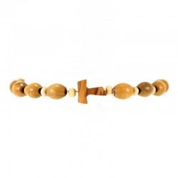 Wooden Elastic Rosary Bracelet with Tau Grain 6x8 mm
