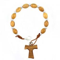 Rosario a bracciale legno di ulivo Tau Grano 6x8 mm
