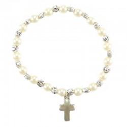 Bracciale rosario elastico  similperla Grano 6 mm
