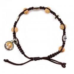 Bracciale rosario corda Medaglia San Benedetto Grano 8 mm
