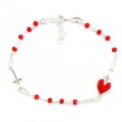 Heart Rosary Bracelet Silver 925°° Grain 3 mm