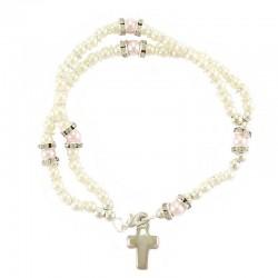 Elastic Rosary Bracelet with Rhinestones Grain 4 mm
