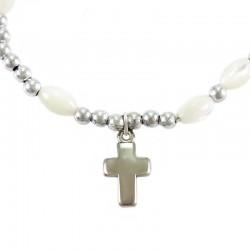 Elastic Rosary Bracelet oval Grains 6x9 mm