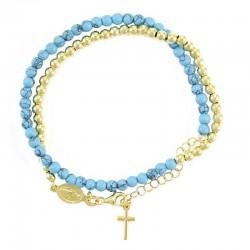 Double Bracelet Rosary Stone & Golden Silver Grains 4 mm