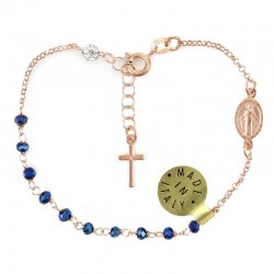 Rosary Bracelet Copper colored Silver Grain 3 mm