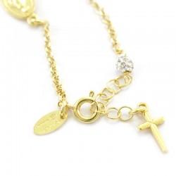 Rosary Bracelet Golden Silver & Rhinestones Grain 3 mm